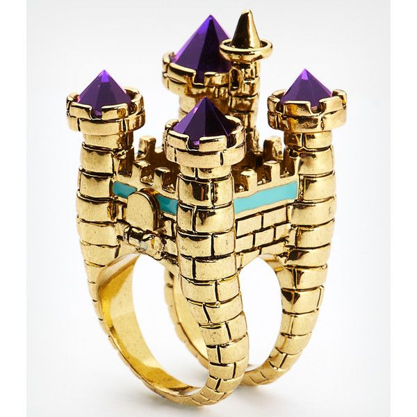 DISNEY COUTURE Disney Couture Oversized Castle Cocktail Ring ($70) ❤ liked on Polyvore
