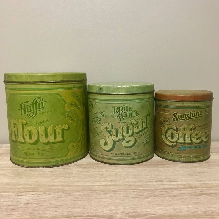 Vintage Ballonoff Tin Flour Coffee Tea Canister Set by RetroBoro on Etsy https://www.etsy.com/ca/listing/567659244/vintage-ballonoff-tin-flour-coffee-tea