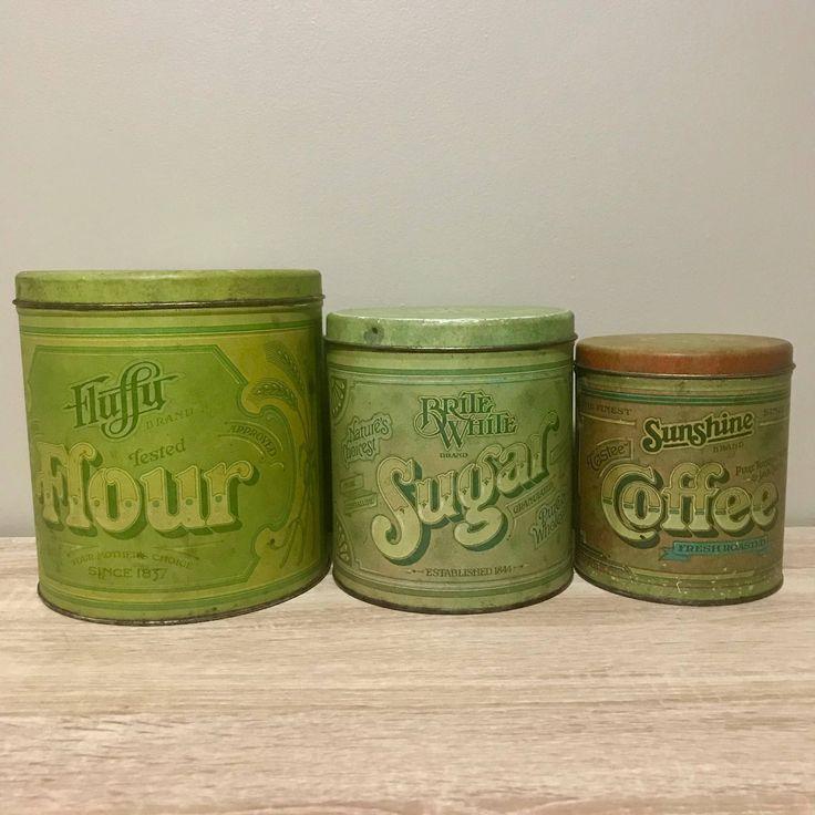Vintage Ballonoff Tin Flour Coffee Tea Canister Set by RetroBoro on Etsy https://www.etsy.com/ca/listing/567659244/vintage-ballonoff-tin-flour-coffee-tea