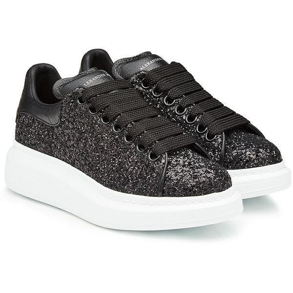 Alexander McQueen Glittered Leather Sneakers (€405) ❤ liked on Polyvore featuring shoes, sneakers, black, glitter shoes, glitter sneakers, black trainers, black rubber sole shoes and leather shoes