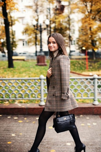 Brown check tweed pea coat