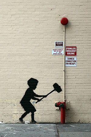 Hammer Boy By Banksy Canvas Print @Romeotees