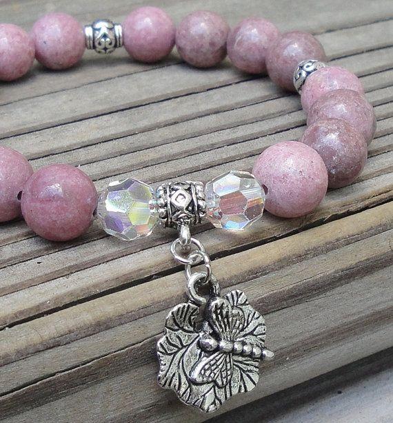JASMINE - Natural Rhodonite Gemstone Healing & Calming Bracelet by GracefulFrog