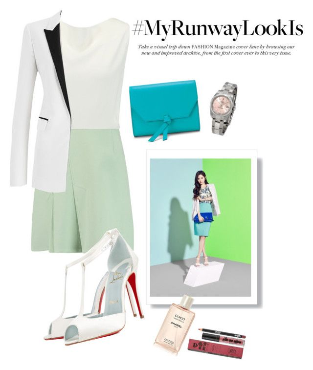 """Runway Looks: Inspired by Seohyun's Girls Generation"" by egaemgyu on Polyvore featuring Roland Mouret, Amanda Wakeley, Alexandra de Curtis, Christian Louboutin, Rolex and myrunwaylooksIs"