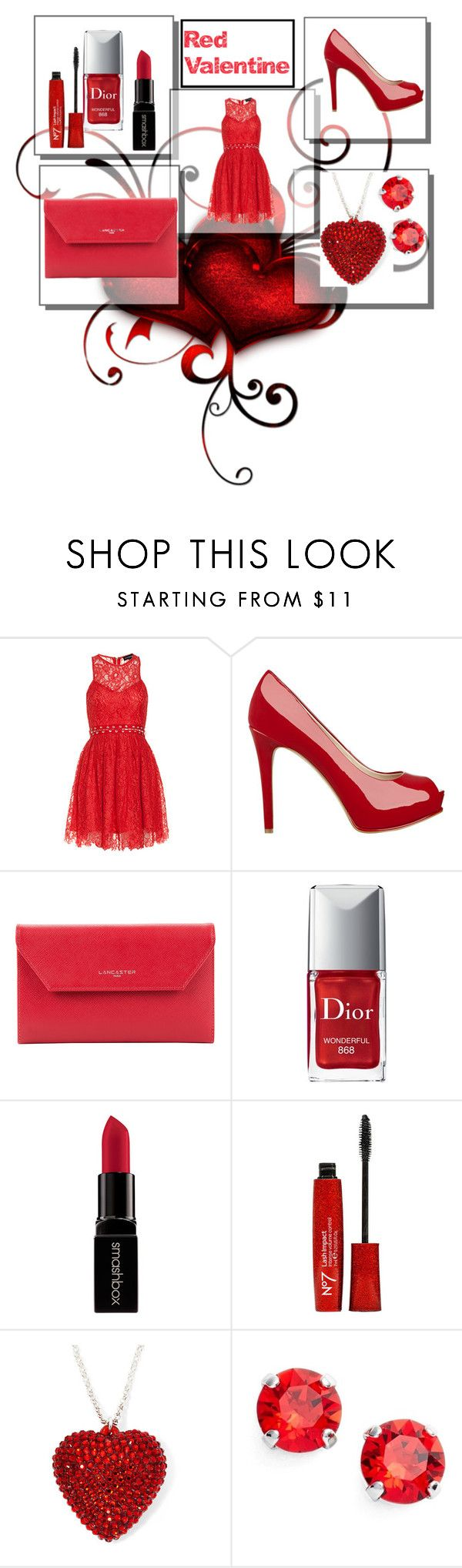 """Valentine's Day Date Outfit"" by sistasalways on Polyvore featuring StyleStalker, GUESS, Lancaster, Christian Dior, Smashbox, L. Erickson, women's clothing, women, female and woman"
