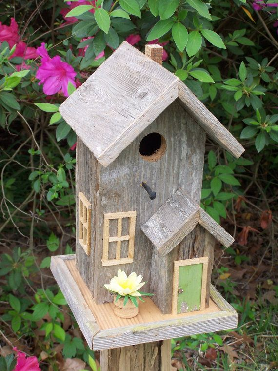 Rustic Cedar Condo Style Birdhouse by SwampwoodCreations on Etsy, $75.00