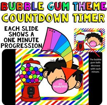 Class Slides with Timer: This is a fun countdown timer that has a bubble gum theme. It can be used any time during the year. Countdown timers can be helpful for activities such as: timed math tests, game time, center rotations, working with a partner, turn and talk times, sustained silent reading, brainstorming time, indoor