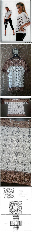 Блуза крючком круглыми мотивами. | Вязание КРЮЧКОМ | Постила