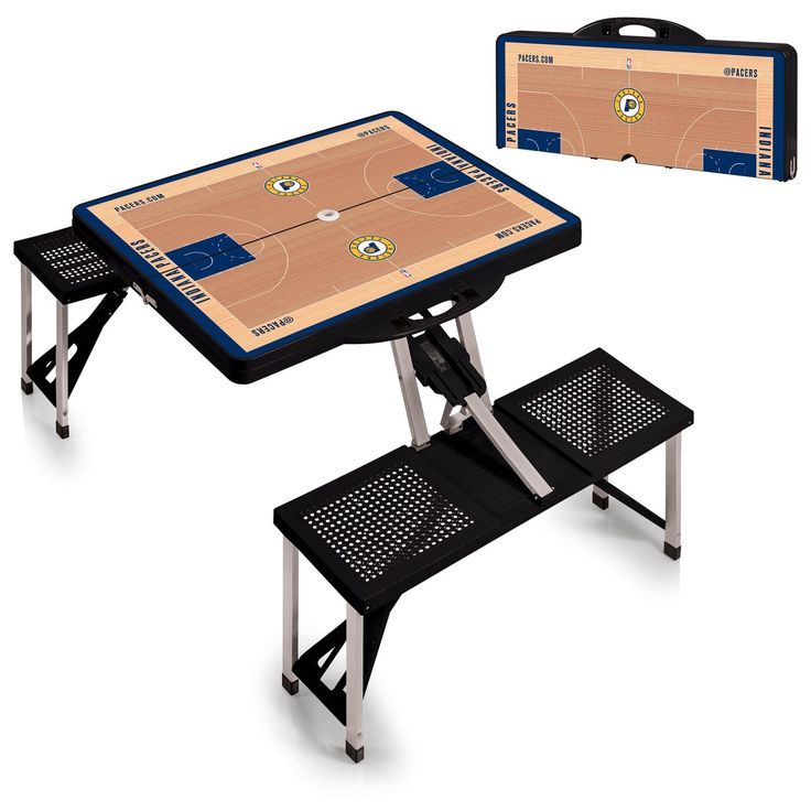 The Portable NBA Black Indiana Pacers Picnic Table Sport is a compact fold-out table with bench seats for four that you can take anywhere. Free Shipping. Visit SportsFansPlus.com for Details.