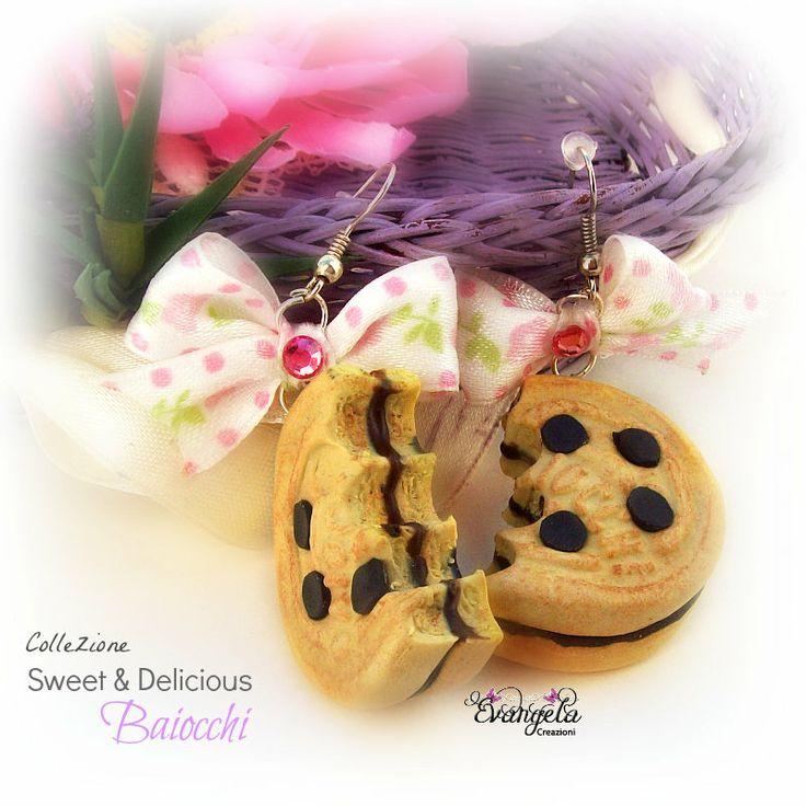 Orecchini baiocchi biscotti fimo realistico rosa dolce moda donna ragazza, by Evangela Creazioni, 8,70 € su misshobby.com