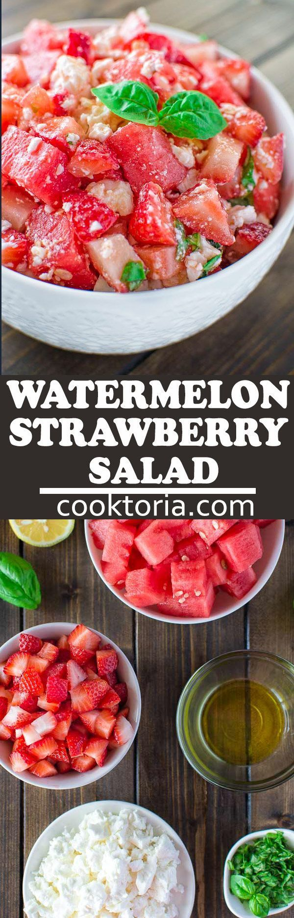 Refreshing summer salad made with succulent watermelon, sweet strawberry and salty feta cheese. Perfect for barbecue parties! COOKTORIA.COM