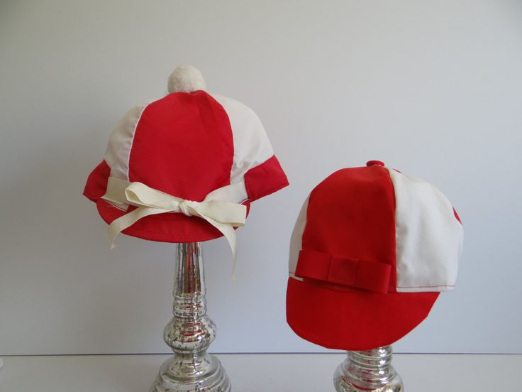 Off to the Races Vintage Man and Woman Jockey Hats - Red and White Jockey Hats - His and Hers - Costume - Kentucky Derby - Horse Races by SecondWindShop on Etsy