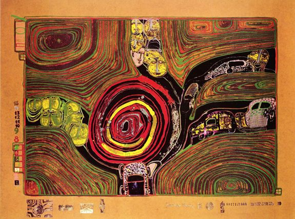 "Hundertwasser, ""Crusade of the Crossroaders"" 1971-72. Sheet No. 10 in the portfolio ""Look at it on a rainy day"" Silkscreen in 17 colors with metal imprints in 7 colors on an application of ground glass, on tarred brown paper. Edition of 3,000."