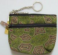 Yijan 2 Zip Keychain Coin Purse Design: Women Travel Dreaming/Green Artist: Maureen Hudson Nampajimpa Code: YI-KCP-2Z-6 Price: $11.00 or 2 for $20.00