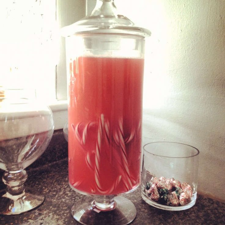 Home made Candy Cane infused vodka. Let candy canes dissolve in the booze until desired taste. Package adorably for the holidays and spread the cheer.
