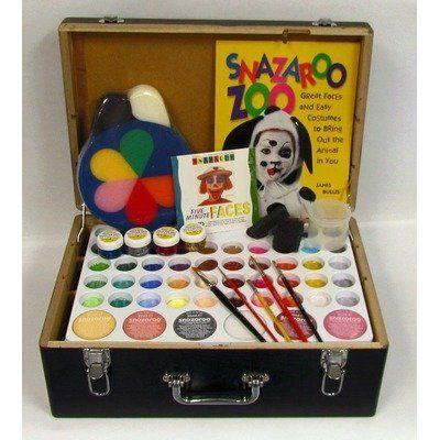 Face Paint Professional 54 Color Kit by SnazarooUSA. $216.99. The 54 color Snazaroo Professional Face Paint Kit will easily paint 1,250 full faces or 31,000 two inch square cheek art designs.. KIT54 Features: -Water-based easy on - easy off.-Paint 1,500 full faces and 37,500 cheek art designs.-Hypo allergenic.-Compliant with US cosmetic and toy safety regulations.-Face paint is nut and gluten free.-Black carrying case.-Pro 54 pallete.-All gold, silver, red, blue in 4...