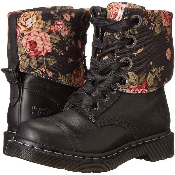 Dr. Martens Triumph 1914 (Black Polished Wyoming) Women's Shoes (315 BRL) ❤ liked on Polyvore featuring shoes, boots, black, dr martens boots, low heel boots, black buckle boots, buckle boots and dr martens shoes