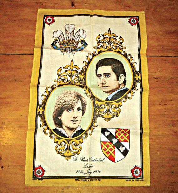 Torchon torchons Vintage royauté britannique mariage Charles et Diana 1981 lin irlandais