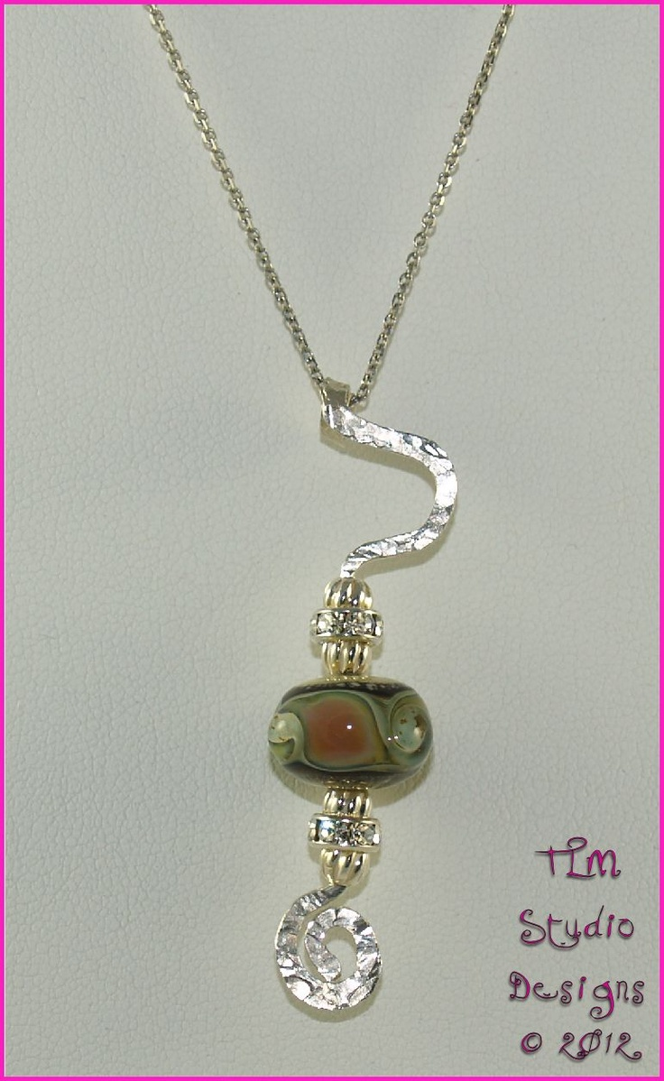 Hammered Sterling Silver Pendant with Handmade Glass Lampwork Bead & Sterling Silver Crystal Rondelles - $76 - (chain not included) handcrafted by TLM Studio DesignsTlm Studios, Studios Design, Lampworking Beads, Hammer Sterling, Glasses Lampworking, Handmade Glasses, Sterling Silver Pendants, Silver Crystals, Crystals Rondelle
