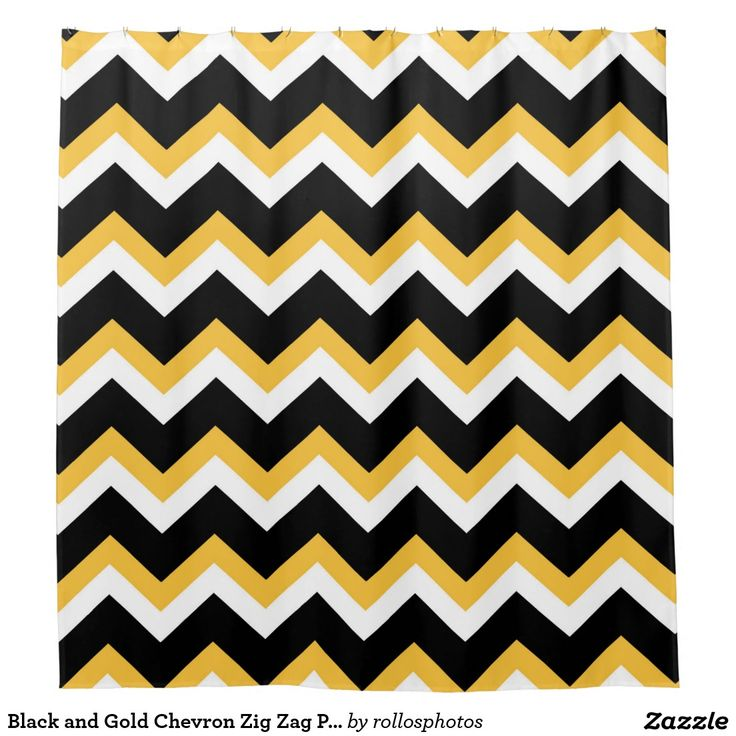 Black And Gold Chevron Zig Zag Pattern Shower Curtain Home Goods Pinteres