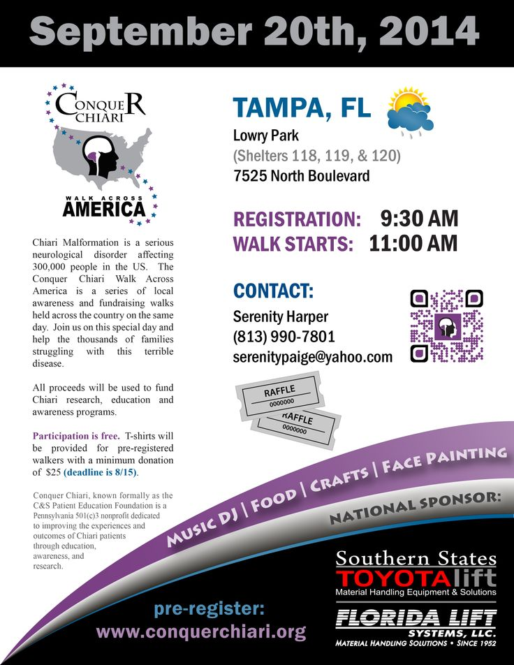 Our 7th Annual Tampa Bay, Fla Conquer Chiari Walk Across America flyer has been updated as of 6.26.2014* to include  Southern States Toyota Lift/Florida Lift Systems, for returning a 3rd year as our National Sponsor! To visit their website go to http://www.sstlift.com/  2012 marked their 60th year in the forklift business, That is an accomplishment to be extremely proud of! Thanks Vonda Maxwell.