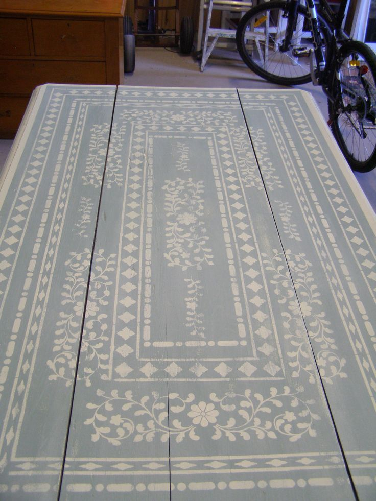 """Duck egg blue"" with ""Old white stenciled on top. Indian Inlay stencil by Kim Myles from Cutting Edge Stencils http://www.cuttingedgestencils.com/indian-inlay-stencil-furniture.html"
