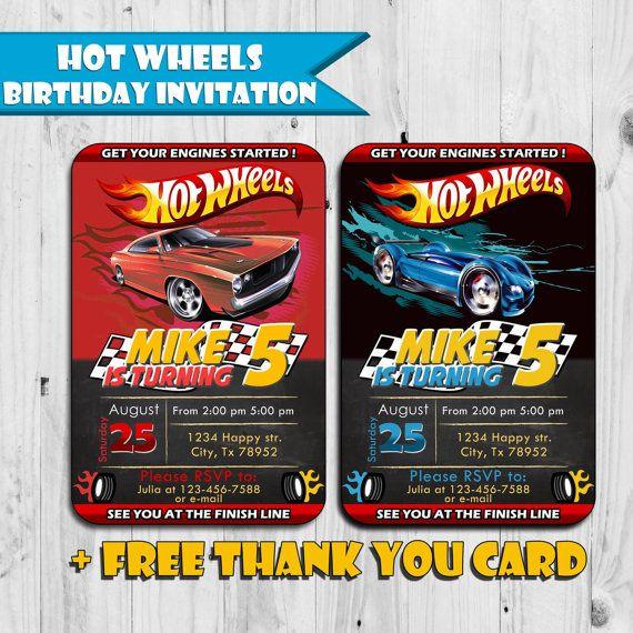 Hot Wheels Inspired Birthday Invitation
