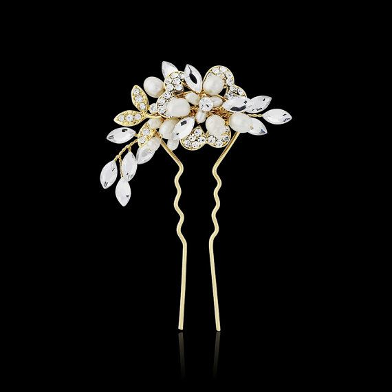 Gold hair pin wedding Vintage style bridal freshwater pearl crystal hair clip pin comb wedding hair accessories 1940s style