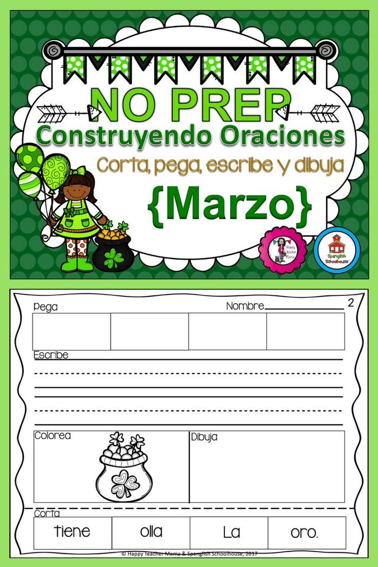 These St. Patrick Day themed Spanish sentence builders are a great way to practice vocabulary and grammar! No prep needed, just print and go. Dia de San Patricio | Construyendo Oraciones