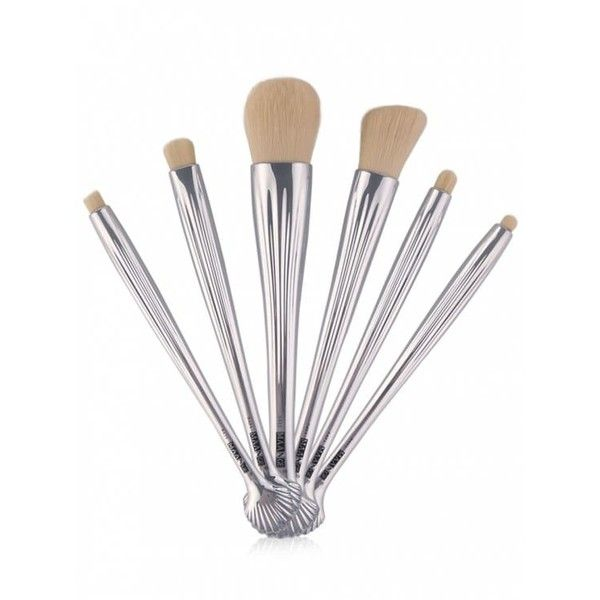 6Pcs Plated Shell Facial Eye Makeup Brushes Set Silver (94.270 IDR) ❤ liked on Polyvore featuring beauty products, makeup, makeup tools and makeup brushes