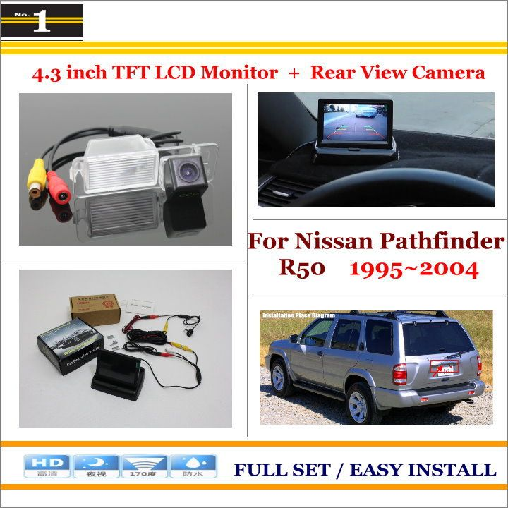 """Car Parking Camera + 4.3"""" LCD Monitor NTSC PAL = 2 in 1 Parking Rearview System - For Nissan Pathfinder R50 1995~2004"""
