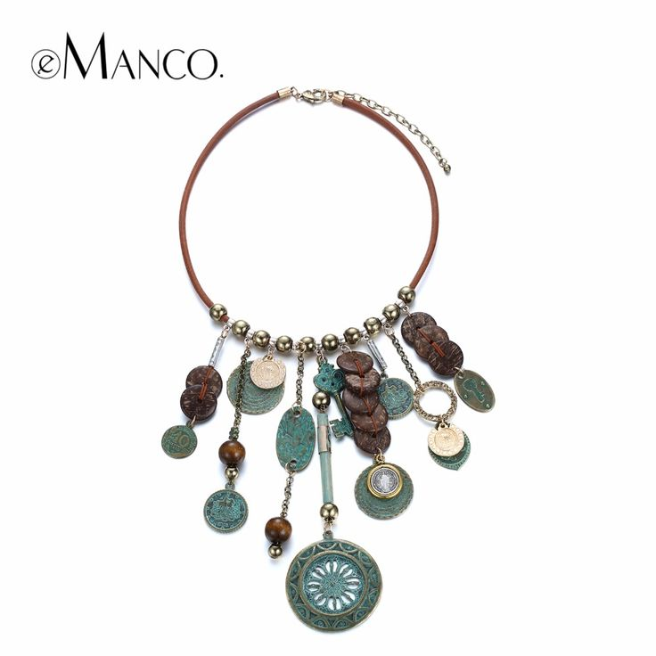 eManco Bohemia Ethnic Style Charms Suspension Necklace for Women Wood Beads Statement Vintage Pendants Choker Necklace Jewelry