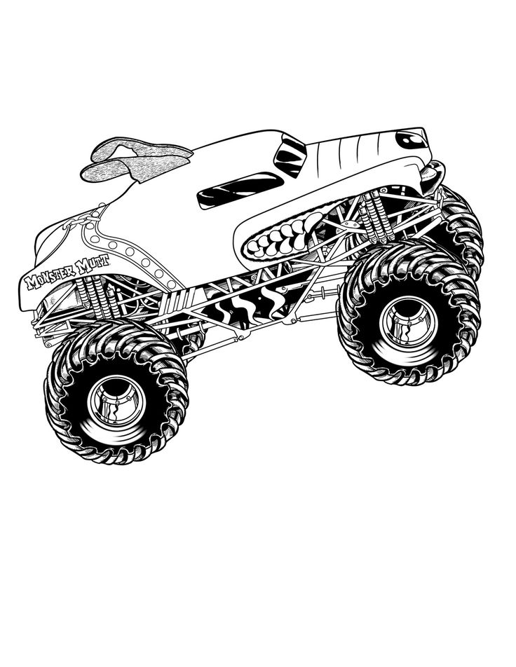 Monster Truck Max D coloring page for kids, transportation
