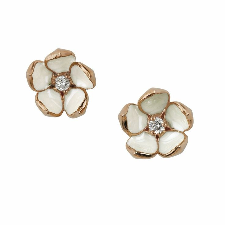 Rose Gold Vermeil Diamond Blossom Studs