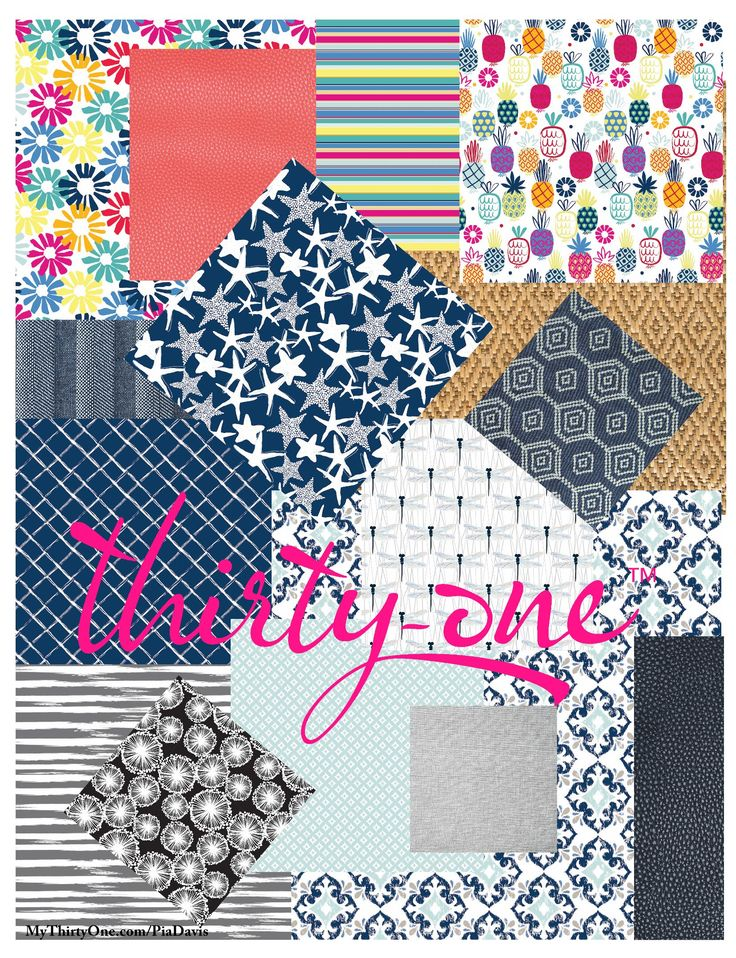 Thirty-One has a print for everyone's style... 2018 brings you… Bloomin' Bouquet, Diamond Straw, Dragonfly Daze, Light Grey Crosshatch, Dandelion Dream, Ditty Dot, Fab Flourish, Grey Brush Strokes, Lotta Colada, Navy Starfish Splash, Calypso Coral Pebble, Dash of Plaid Pebble, Dotty Hexagon, Midnight navy Pebble, Patio Pop, Sparkling Squares and Woven Stripe.