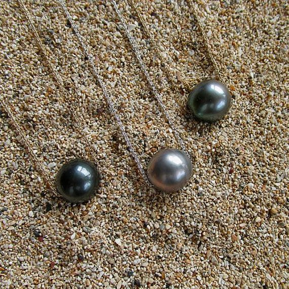 Tahitian Pearl Necklace Sterling Silver by HanaMauiCreations, $50.00
