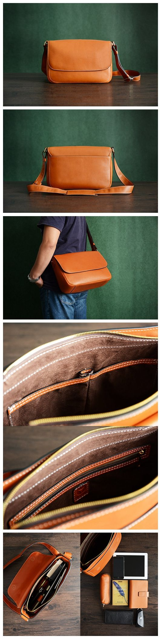 Custom Handmade Vegetable Tanned Italian Leather Messenger Satchel Bag Crossbody Shoulder Bag
