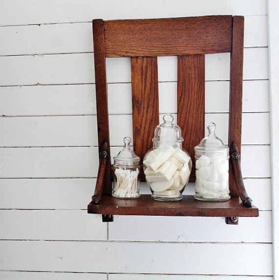 $31 Repurposed Antique Chair Shelf, Wall Shelf, Bathroom Shelf, Wood Shelf, farmhouse style
