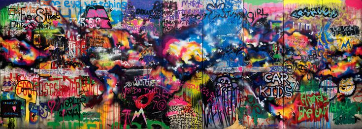 The Coldplay Wall ~ they painted it themselves and then used it as their album cover for Mylo Xyloto