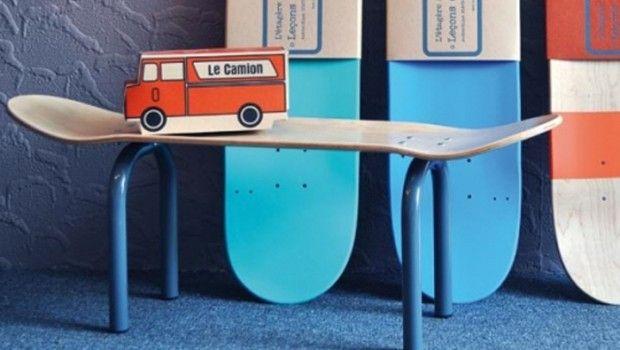 Skateboard bankje Lecons de chooses, stoere jongenskamer, skateboard kamer, boyslabel, city jongenskamer