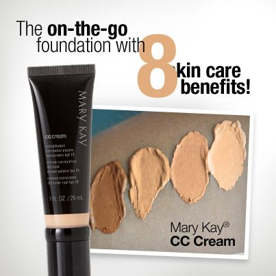 NEW! Mary Kay® CC Cream Sunscreen SPF 15  8-in-1 Benefits • Protects • Brightens • Corrects with lightweight coverage • Minimizes redness • Conceals • Hydrates • Reduces visible signs of aging • Defends Order at www.marykay.com/joverbey