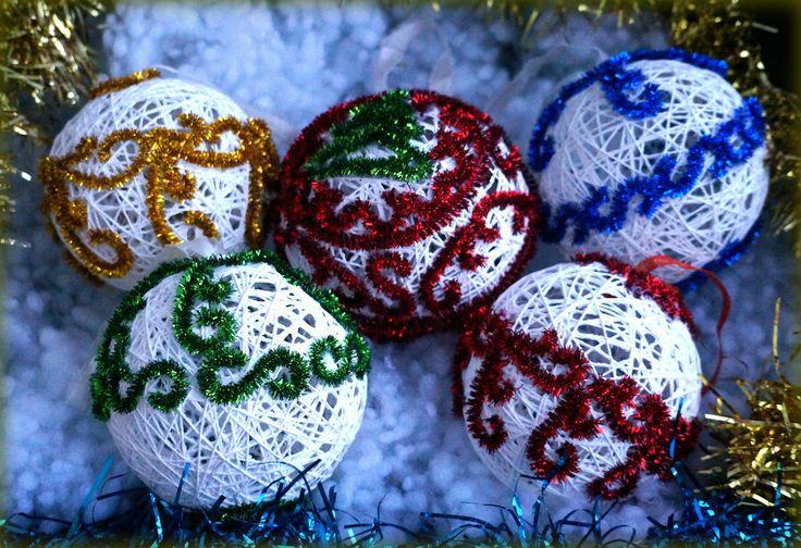 Новогодние шары из ниток / Декор / Декор. Работы пользователей