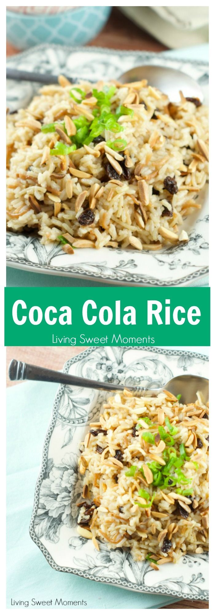Coca Cola Rice Recipe: This delicious latin rice made with coca cola is topped with raisins and toasted almonds. Great and easy side dish to any meal. More rice recipes at livingsweetmoments.com  via @Livingsmoments