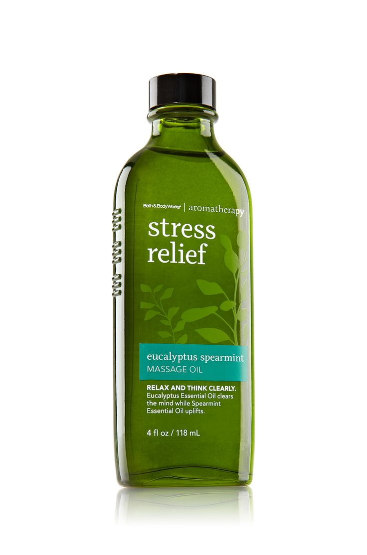 Stress Relief - Eucalyptus Spearmint Massage Oil - Aromatherapy - Bath & Body Works - A company Rep assured that the ingredient Squalene was plant derived and not from shark liver