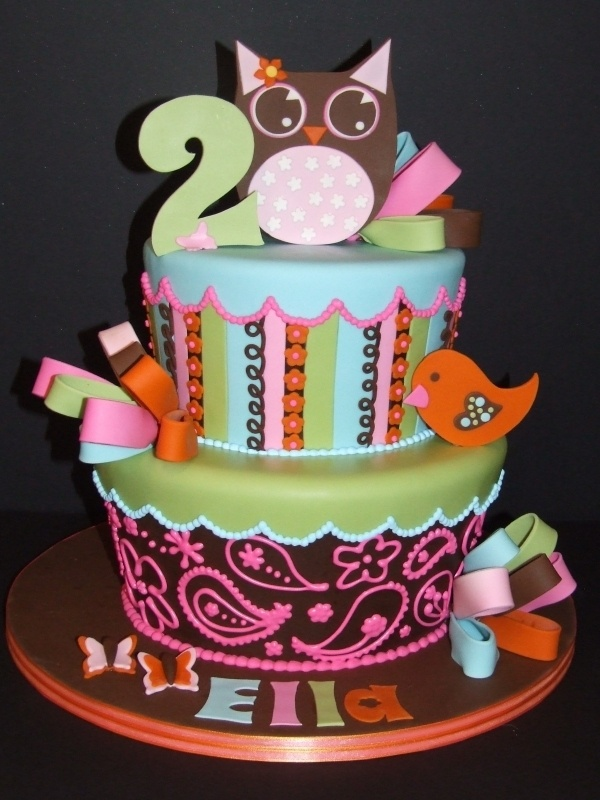 Owl is cute...but think it would be a great Birthday Cake as is, without the owl and bird (child or adult)       Love the colors!