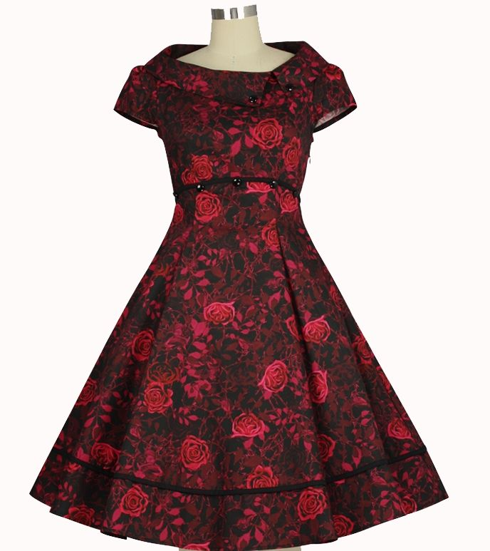 Rose Print  Retro 1950s Dress  ChicStar  $56 Standard size  $61 Plus Size  -- Design by Amber Middaugh and Guylian K