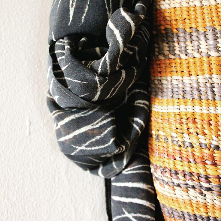 Gaawaa Miyay Digital dhinawan (emu feather) print & twined basket form Gapuwiyak NT