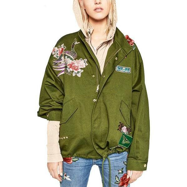 Floral Military Bomber Jacket