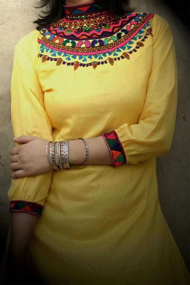 Pakistani Wedding Dress.  yellow 2 with sindhi embriodery on it . Follow me here MrZeshan Sadiq