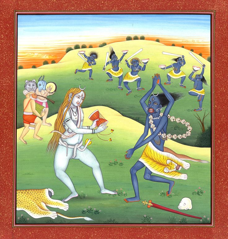 Goddess Kali Dancing with Her Companions to the Tune of Lord Shiva's Damaru